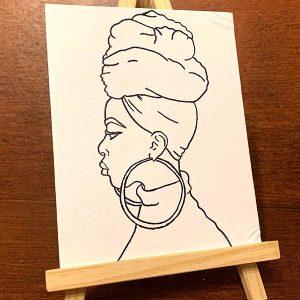 Headwraps 'N Hoops Pre-Drawn Canvas
