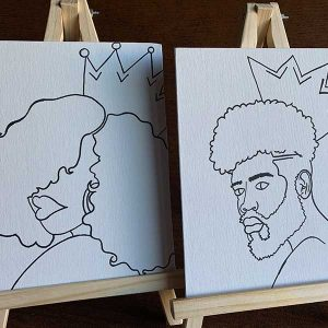 """His and Hers Royalty Pre-Drawn 8""""x10"""" Canvas Paint at Home Kit"""